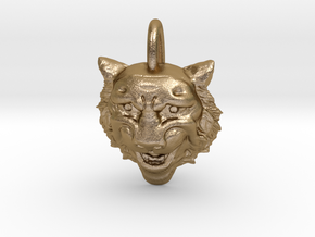 Leopard's head for pendant in Polished Gold Steel