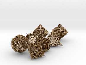 Thorn Dice Set with Decader in Polished Gold Steel
