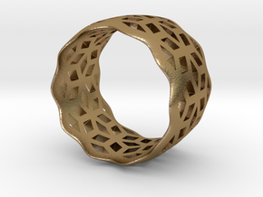 geometric ring 6 in Polished Gold Steel