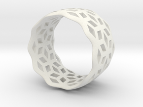 geometric ring 6 in White Strong & Flexible
