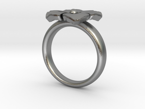 ring flower s 56 in Raw Silver