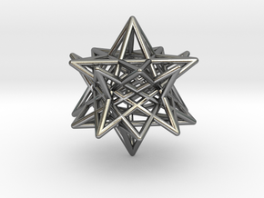 modified twisted Small stellated dodecahedron in Polished Silver