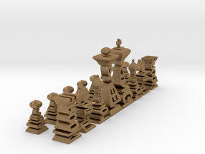 Typographical Chess Set in Matte Gold Steel