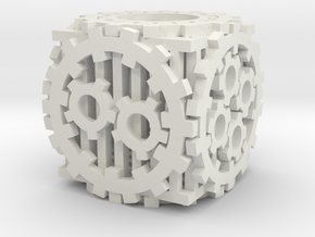 Steampunk D6 in White Strong & Flexible