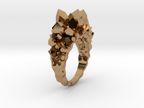 Crystal Ring Size 8 in Polished Brass