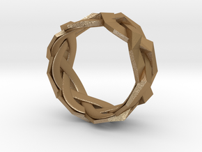 Braided Polygon Ring Size 7 in Matte Gold Steel