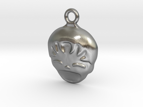Smiling Child - head - Design for pendant/earring  in Raw Silver