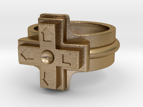 Ring of the gamer in Polished Gold Steel
