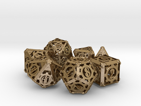 Steampunk Dice Set in Polished Gold Steel