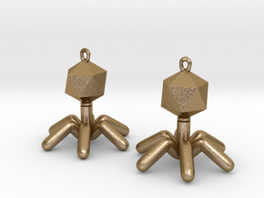 T4 Phage Earings in Polished Gold Steel