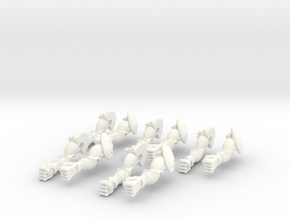 5 Sets of Monster Arms Straight in White Strong & Flexible Polished