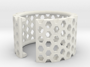 Slim Perforated Honeycomb Ring in White Strong & Flexible