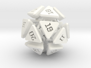 New Class of Dice - Spring-loaded Icodie in White Strong & Flexible Polished