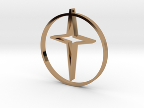 Circle of life cross 35mm in Polished Brass