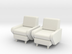 1:36 Moderne Club Chair in White Strong & Flexible
