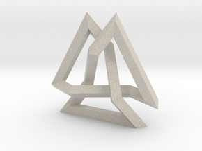 Trefoil Knot inside Equilateral Triangle (Large) in Sandstone