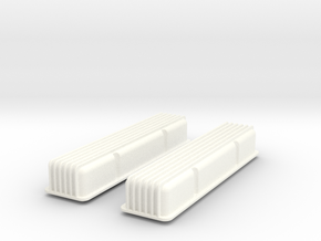 1/8 SBC Finned Valve Covers in White Strong & Flexible Polished