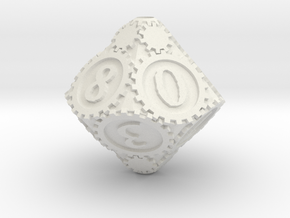 D10Gearpunk in White Strong & Flexible