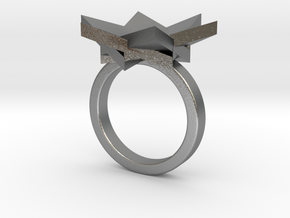 Six Points Flower Ring S in Raw Silver