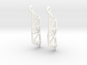 Earrings Construct in White Strong & Flexible Polished