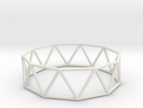 decagonal antiprism 70mm in White Strong & Flexible