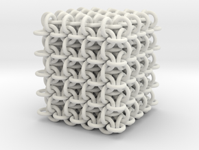 3D chain mail, 4x4x4 grid in White Strong & Flexible