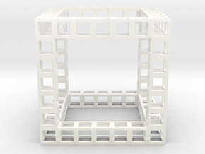 Eponge de Menger de degré 7 in White Strong & Flexible Polished