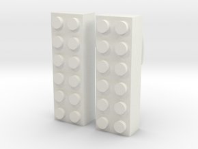 2x6 Brick Earring 0g in White Strong & Flexible