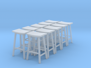 1:48 Tall Saddle Stools, Set of 10 in Frosted Ultra Detail