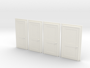 Door Type 4 - 4mm Scale in White Strong & Flexible Polished