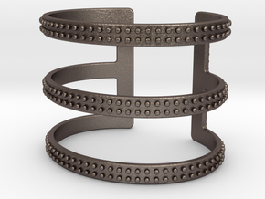 Rows of Rivets Cutout Cuff in Stainless Steel