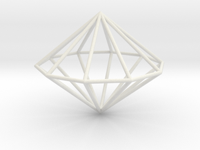 Decagonal dipyramid 70mm in White Strong & Flexible