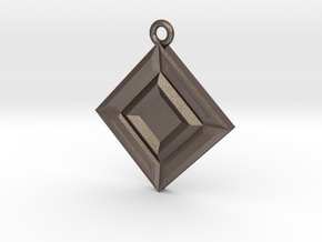 Faceted Opposites Diagonal Pendant  in Stainless Steel