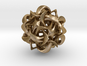 Dodecahedron VI, pendant in Polished Gold Steel