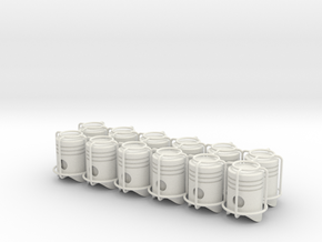 12x Piston tire valve cap in White Strong & Flexible