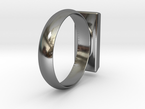 Golden Brick Ring  in Polished Silver