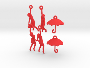 earring set: Umbrella girls in Red Strong & Flexible Polished