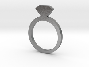 Ring5112 2D Silver Diamond Ring Size6  in Raw Silver