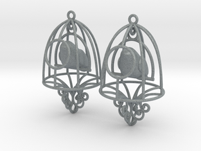Bird in a Cage Earrings 07 in Polished Metallic Plastic