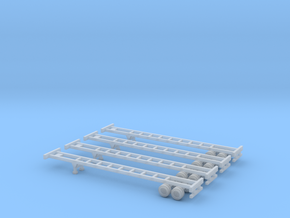 53 foot Container Chassis II - Set of 4 - Z scale in Frosted Ultra Detail
