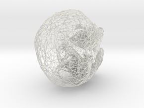 Skull Wireframe 3.6 Manifold in White Strong & Flexible
