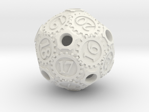 Gearpunk Spindown D20 in White Strong & Flexible