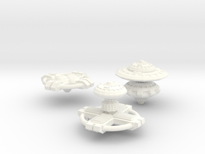 3 Space Stations in White Strong & Flexible Polished
