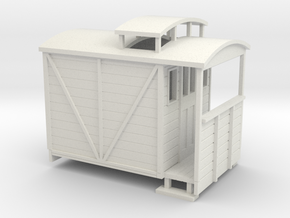 OO9 brake van with birdcage (large) in White Strong & Flexible