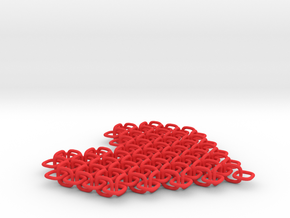 Chainmail Pixel Heart in Red Strong & Flexible Polished