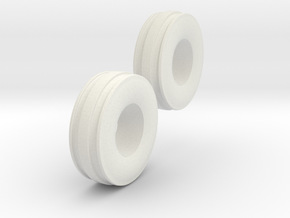 1:64 11L-15 3 Rib Tractor Tires in White Strong & Flexible