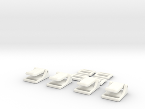 1:7 Scale Seat Belt Parts - Snap Type in White Strong & Flexible Polished