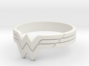 Wonder Woman Ring, Size 7 in White Strong & Flexible
