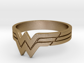 Wonder Woman Ring, Size 7 in Polished Gold Steel
