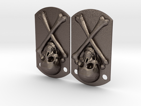 Dog tags  skull and bones in Stainless Steel
